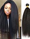 3 pakker Mongolsk haar Yaki Straight 8A Ekte haar Ubehandlet Menneskehaar Menneskehaar Vevet Bundle Hair En Pack Solution 8-28 tommers Naturlig Farge Haarvever med menneskehaar Cosplay Kul Smuk