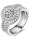 Dámské Kubický zirkon Retro Band Ring Kytky Klasické Vintage Elegantní Fashion Ring Šperky Stříbrná Pro Svatební Zásnuby Obřad 6 / 7 / 8 / 9 / 10 3ks