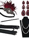 The Great Gatsby Vintage 1920s Roaring 20s Costume Women\'s Gloves Necklace Flapper Headband Head Jewelry Earrings Pearl Necklace Black / Red Vintage Cosplay Party Prom / Feather