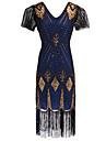 Grande Gatsby Vintage Anos 20 Rugindo 20s Ocasioes Especiais Mulheres Vestidos Vestido Flapper Azul / Dourado / Red + Golden Vintage Cosplay Festa Baile de Formatura Manga Curta Borboleta Ate os