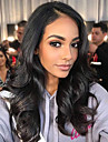 Ljudska kosa Lace Front Perika Asimetrična frizura Kardashian stil Indijska kosa Tijelo Wave Priroda Crna Perika 130% Gustoća kose s dječjom kosom Prirodno Najbolja kvaliteta Novi Dolazak Udobnost