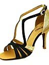 בגדי ריקוד נשים נעליים לטיניות סטן עקבים עקב רחב נעלי ריקוד ורוד / שקד / עירום / הצגה / עור / אימון