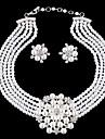 Γυναικεία Λευκό Μαργαριταρένια Πολυεπίπεδο Κοσμήματα Σετ Απομίμηση Μαργαριταριού, Στρας Λουλούδι κυρίες, Στυλάτο, Πολυτέλεια, Μοναδικό Περιλαμβάνω Κρεμαστά Σκουλαρίκια Κρεμαστό Λευκό Για / Cercei