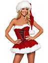 Mrs.Claus Kostume Santa Clothe Dame Jul Festival / hoeytid Polyester Roed Karneval Kostumer Ensfarget Ferie Jul