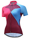 TELEYI Women\'s Short Sleeve Cycling Jersey Blue+Pink Plaid / Checkered Plus Size Bike Jersey Top Breathable Moisture Wicking Quick Dry Sports Polyester Mountain Bike MTB Road Bike Cycling Clothing