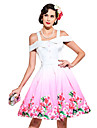 Audrey Hepburn The Marvelous Mrs. Maisel Floral Retro / Vintage 1960s Wasp-Waisted Costume Women\'s JSK / Jumper Skirt White Vintage Cosplay Sleeveless Strap Knee Length