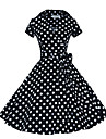 Audrey Hepburn Polka Dots Retro / Vintage 1950s Costume Women\'s Dress Black / Coffee / Red Vintage Cosplay Short Sleeve T-shirt Sleeve Knee Length