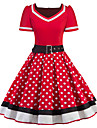 Audrey Hepburn Polka Dots Retro / Vintage 1950s Costume Women\'s Dress Black / Red Vintage Cosplay Half Sleeve Knee Length