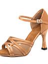 בגדי ריקוד נשים נעליים לטיניות סטן סנדלים / נעלי ספורט אבזם סלים גבוהה עקב מותאם אישית נעלי ריקוד חום