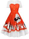 Kjoler Julkjole Santa Clothe Voksne Dame Kjoler Jul Jul Nytt AAr Festival / hoeytid Polyester Groenn / Blaa / Roed+Svart Karneval Kostumer Jul Printer