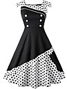 Audrey Hepburn Polka Dots Retro / Vintage 1950s Costume Women's Dress Black / Red / Ink Blue Vintage Cosplay Spandex Sleeveless Knee Length