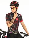 FirtySnow Homens Manga Curta Camisa para Ciclismo Preto / Vermelho Moto Camisa / Roupas Para Esporte Blusas Respiravel Pavio Humido Secagem Rapida Esportes Poliester Ciclismo de Montanha Ciclismo de