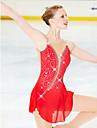 Robe de Patinage Artistique Femme Fille Patinage Robes Rouge Ourlet Asymetrique Haute elasticite Competition Tenue de Patinage Design Anatomique Fait a la main Classique Mode Manches Longues Patinage