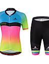 Miloto Dame Kortærmet Cykeltrøje og shorts - Regnbue Plusstørrelser Cykel Trøje, Refleksbånd, Svedreducerende Spandex Gradient / Elastisk