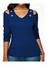 Mulheres Camiseta Solido Algodao Decote V Azul Marinha XXXL