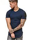 Rund hals Herre - Farveblok Bomuld, Patchwork T-shirt Sort XL