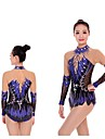 Rhythmic Gymnastics Leotards / Artistic Gymnastics Leotards Women\'s / Girls\' Leotard Dark Blue High Elasticity Competition Handmade Diamond Look / Shading Long Sleeve Rhythmic Gymnastics / Artistic