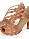 Kadın\'s Sentetikler Latin Dans Ayakkabıları İmistasyon İnci / Parıltı / Kristaller / Yapay Elmaslar Topuklular Kıvrımlı Topuk Kişiselleştirilmiş Siyah / Kahverengi / Yeşil / Performans / Deri