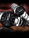 Paar Uhr Stahl Uhren Quartz Matching Sein und ihr Edelstahl Schwarz / Rotgold 30 m Wasserdicht Kalender Kreativ Analog Modisch Elegant Schwarz Blau Rotgold / Ein Jahr