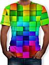 Miesten Pyöreä kaula-aukko Painettu 3D / Sateenkaari T-paita Sateenkaari US36