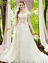Corte en A Escote en Pico Capilla Encaje / Tul Vestidos de novia hechos a medida con Cuentas / Apliques por LAN TING BRIDE®