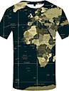 Miesten Pyöreä kaula-aukko Painettu 3D Pluskoko - T-paita Armeijan vihreä XXXL