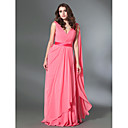 A-Line V Neck Floor Length Chiffon Stretch Satin Formal Evening / Military Ball Dress with Draping Sash / Ribbon by TS Couture®