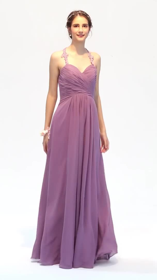 A-Line Halter Floor Length Chiffon Corded Lace Bridesmaid Dress with ...