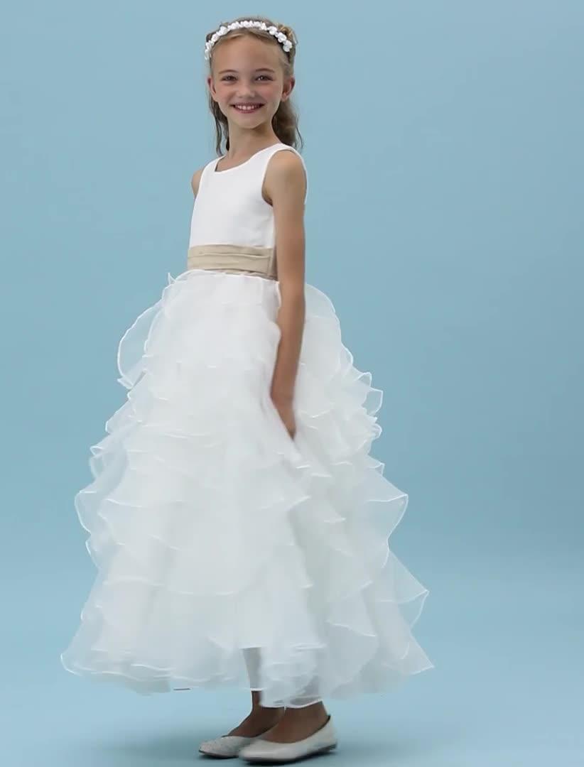 Corte en A Princesa Joya Hasta el Tobillo Organza Satén Vestido de ...