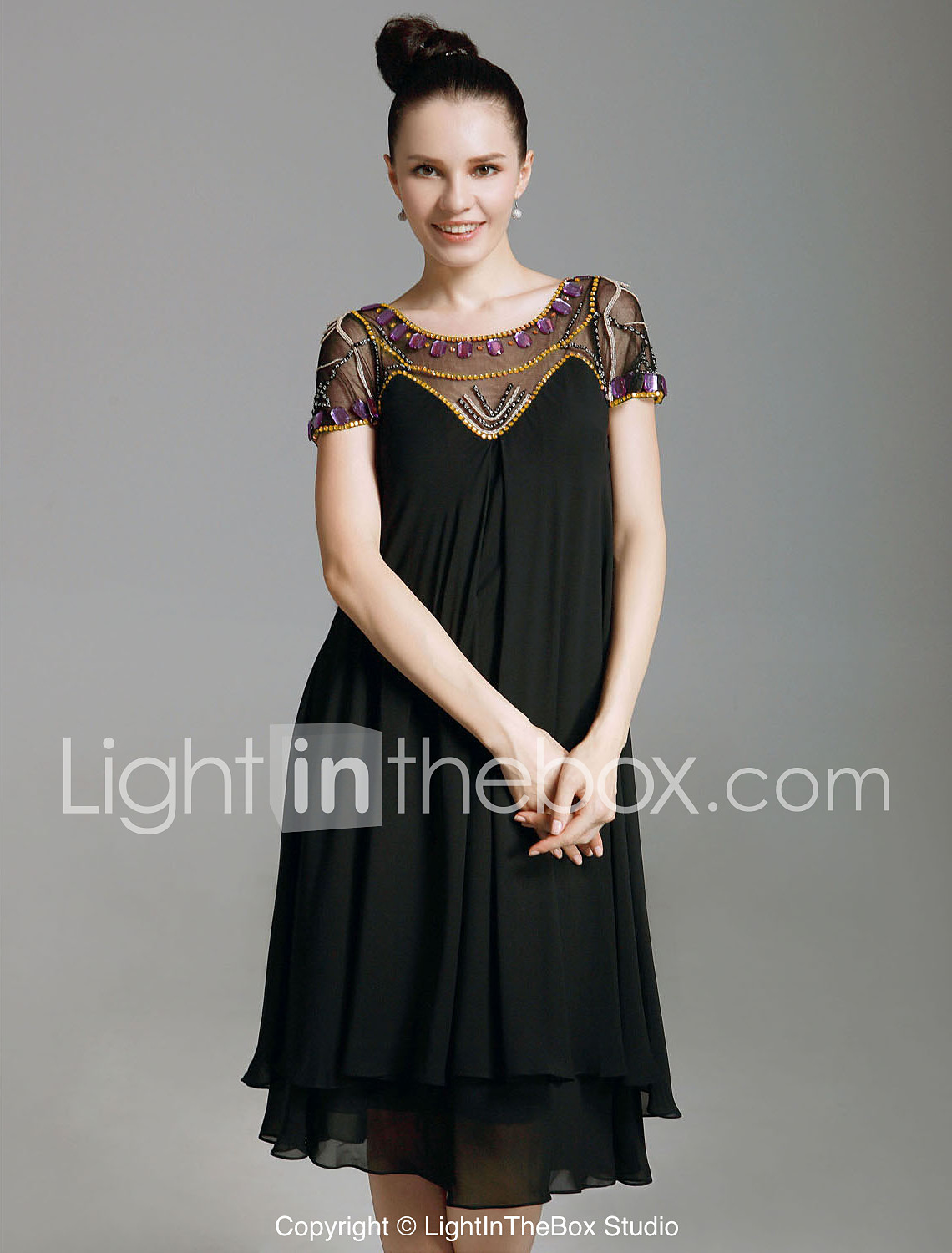 3e924e63861e Sheath / Column Illusion Neck Knee Length Chiffon / Tulle Little ...