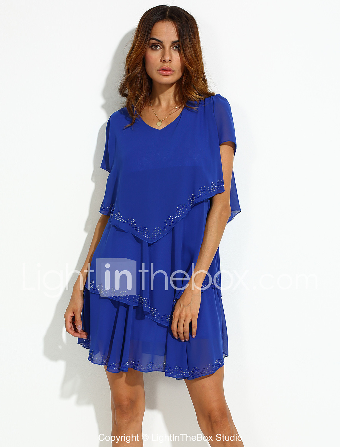 94c847c815 Women s Ruffle Plus Size Daily Weekend Loose Skater Dress - Solid Colored  Blue
