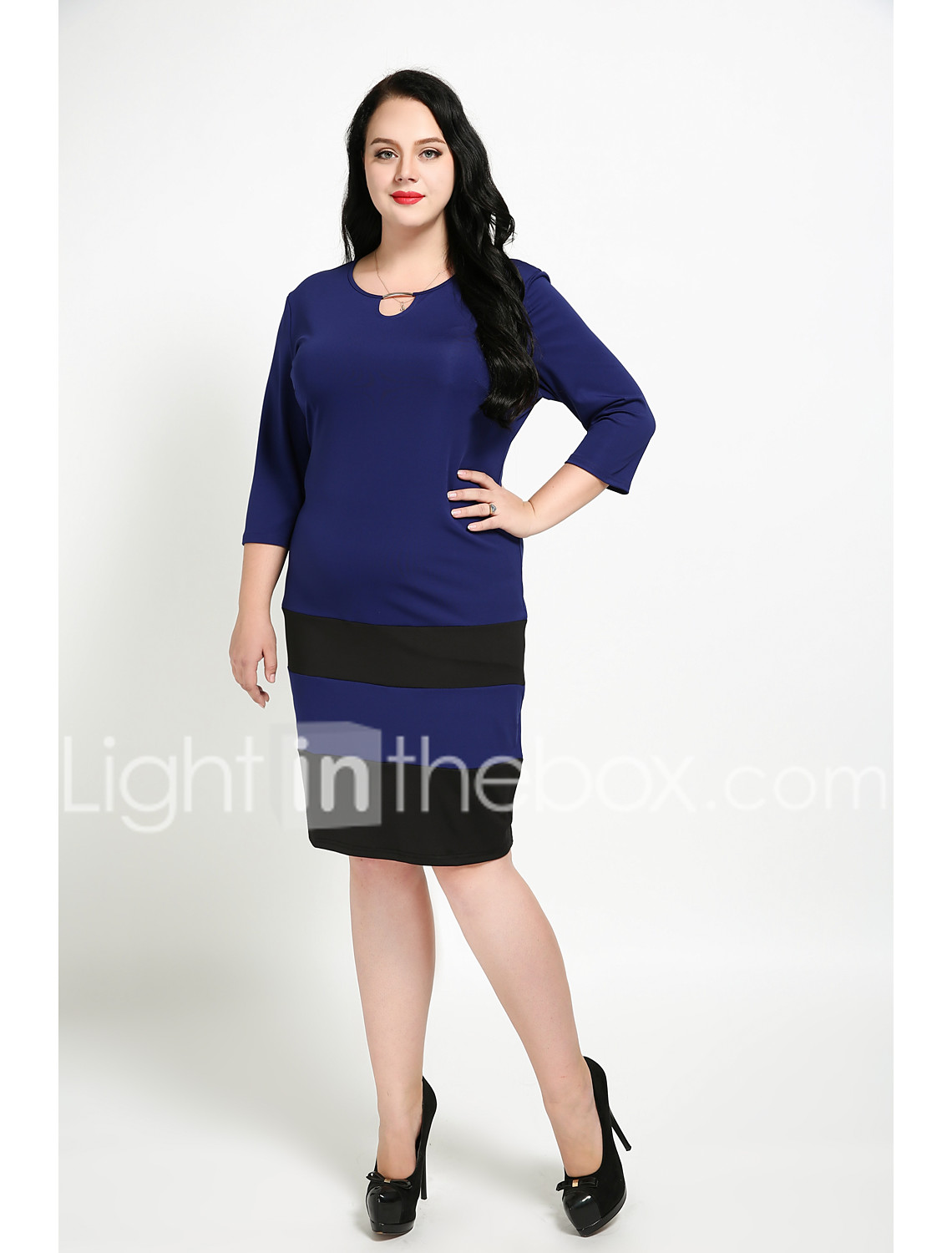 2f662a478a9 Women's Plus Size Daily Vintage Tunic Dress - Color Block Sequins Fall  Cotton Black Royal Blue