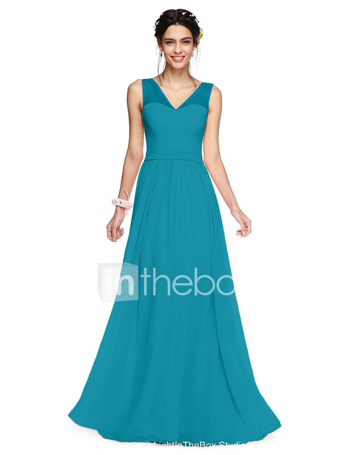A line v neck floor length georgette bridesmaid dress with bows photo by lightinthebox ombrellifo Images