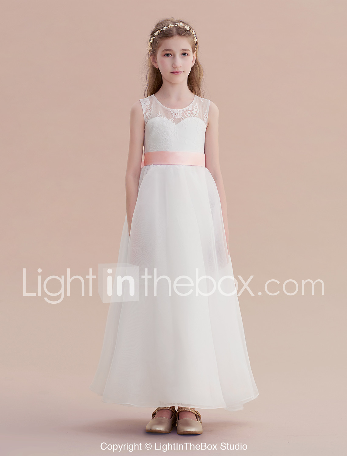 a5f00aa5334 A-Line Long Length Flower Girl Dress - Lace   Organza   Satin Sleeveless  Jewel Neck with Lace by LAN TING Express   First Communion  07032602
